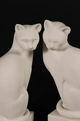 Art Deco Style Marble Sculpture of a Pair of Cats, Gift, Ornament, Art.