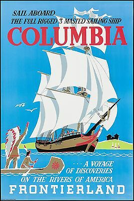 Disneyland COLUMBIA Sailing Ship Full size Attraction Poster 36 x 54 Embossed !