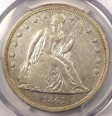 1841 Seated Liberty Silver Dollar $1 - PCGS AU Details - Rare Early Date Coin!