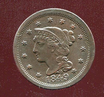 1849 BRAIDED HAIR COPPER LARGE CENT extra fine XF