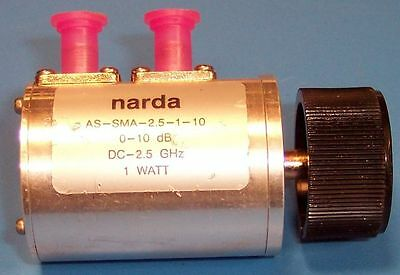 NARDA STEP ATTENUATOR AS-SMA-2.5-1-10 -- 1dB steps, 0-10dB, 50-Ohm -- (seconds)