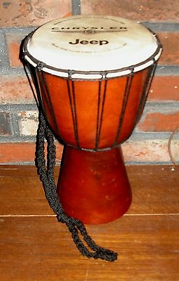 "Hand Craved,  Wood Djembe Drum from Indonesia  6"" Head with Jeep/Chrysler Adv"