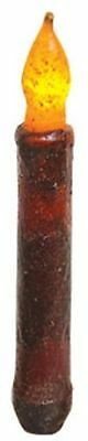 """Burgundy Primitive Texture 6"""" Timer 6/18 Taper Candle flickering candlelight"""