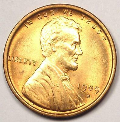 1909-S VDB Lincoln Wheat Cent Penny 1C - Uncirculated Details (UNC MS) - Rare!