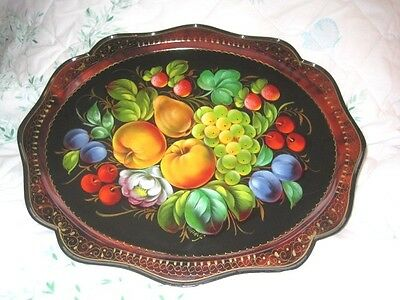 Rare Vintage Hand Painted Fruit Grapes Peaches Cherries Pears Russian Tole Tray