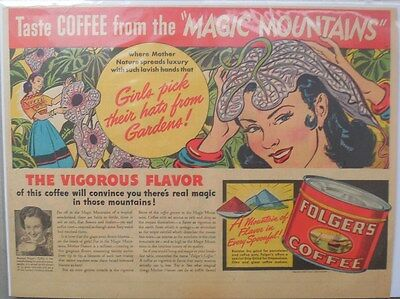 """Folger's Coffee Ad: Taster Coffee from The """"Magic Mountains"""" ! from 1930's-40's"""