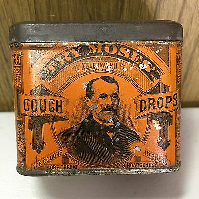 Vintage Try Moses Cough Drops Original Pharmacy Advertising Tin EJ Hoadley CT