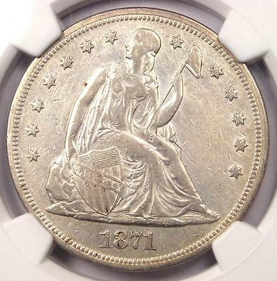 1871 Seated Liberty Silver Dollar $1 - NGC XF Details - Rare Coin - Looks AU!