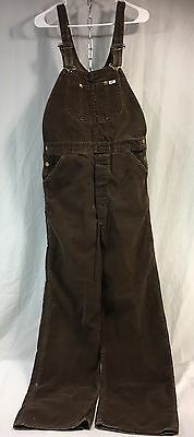 Vintage LEE Bib Overalls Corduroy Brown Jeans USA Made 34 x 32 White Tab Nice!