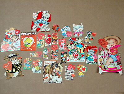 Lot of 24 Vintage Valentine Cards Cats Cowboy Cowgirl Etc Some Mechanical