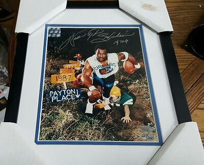 RARE Autographed Bears Sweetness Walter Payton 8x10 Photo Framed STEINER LE 1000