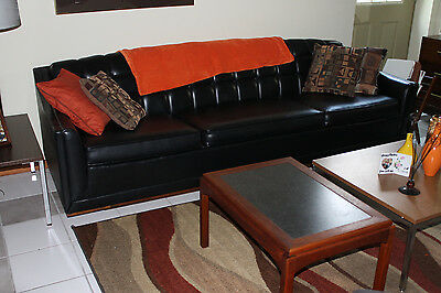 Mid Century Clean  Kroehler Tight Back  8 Ft  Black  Leather  3 Cushion Sofa