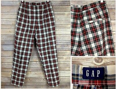 Vintage 1990s GAP Womens Red Plaid Dress Pants High Waisted 30x31 M  6 8 ?