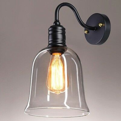 "Vintage Industrial 7"" Bell Shape Glass Light Wall Sconce Edison Lamp Transparent"