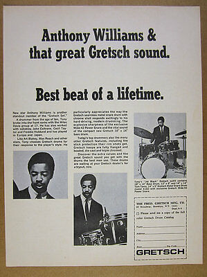 1966 Anthony Williams photo Gretsch Drums Drum Set Kit vintage print Ad