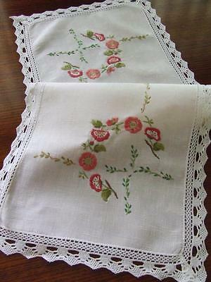 Hand Embroidered Semco Runner with Primulas & Lace Edging 89 x 33 cm