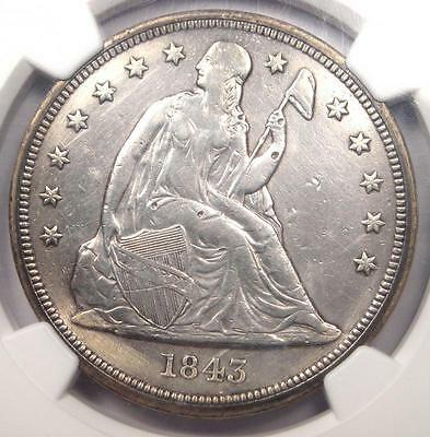 1843 Seated Liberty Silver Dollar $1 - NGC XF Details - Rare Early Date Coin!