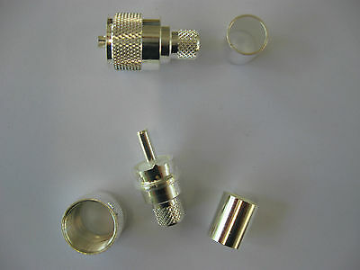 x2 RFC 63-1SP-8400 Silver PL-259 Crimp UHF connectors for RG-213,LMR400 HAM,CB