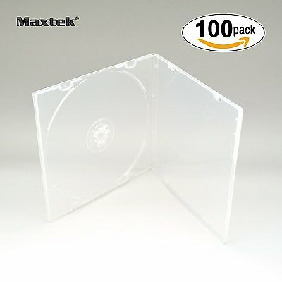 Maxtek 5.2mm CD Case, Slim Single Clear PP Poly Plastic Cases with Outer Sleeve,