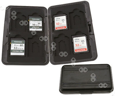 8 in 1 Micro SD Memory Card Carrying Cases Holder Box Aluminum Black Storage