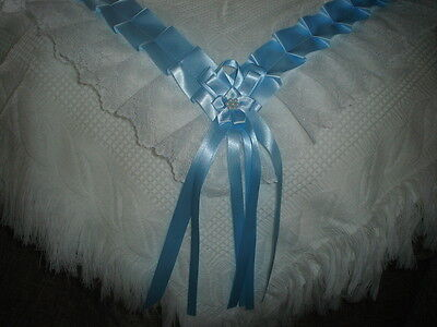 beautiful white/blue baby boys shawl **NEW**