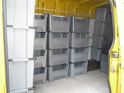 Large Plastic Van Shelving Storage Bins Boxes stackable space bin X 5
