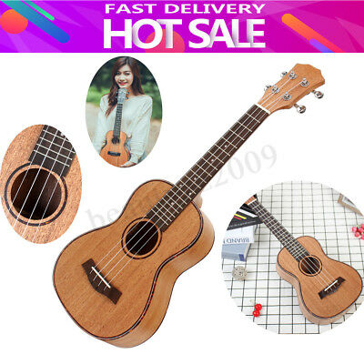 23/26'' Professional Concert Tenor Ukulele Uke Hawaii Acoustic Guitar Brown Gift
