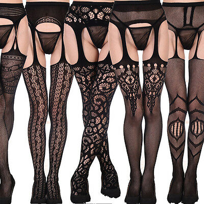 Black Bodystocking Women Mesh Lace Thigh-Highs Garter Belt Suspender Pantyhose