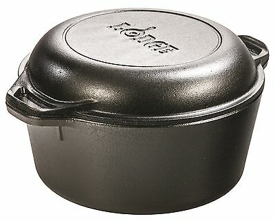 Lodge 4.73 litre / 5 quart Pre-Seasoned Cast Iron Double Dutch Oven (with Loo...
