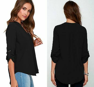 Blouse Top Long Sleeve Ladies Grey V Neck Polyester Loose Casual T Shirt 10-22