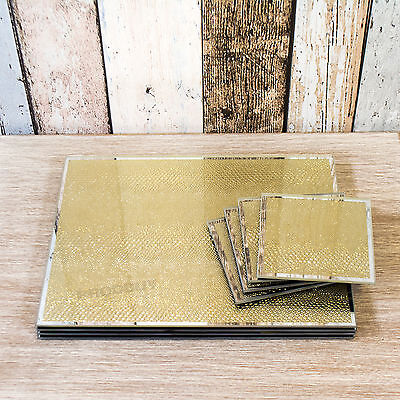Set of 4 Placemats & Coasters Mirrored Glass Gold Snakeskin Glitter Table Mats