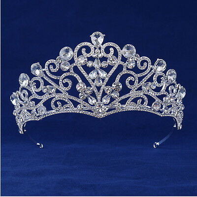 6.5cm High Lovely Heart Drip Crystal Bridal Party Pageant Prom Tiara Crown