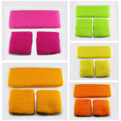 5 Colour Retro Neon 80's Headband Sweatband Wristband Fancy Dress Costumes Party