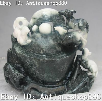 Rare Chinese Dushan Jade Hand Carving Money Bead Mouse Rat Mice Animal Statue
