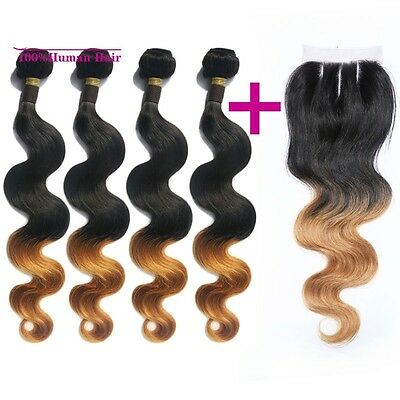 #1B/#27 Ombre Brazilian Virgin Human Hair Body Wave 4 Bundles With Lace Closure