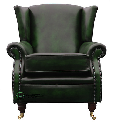 Southwold Fireside High Back Wing Armchair Antique Green Leather
