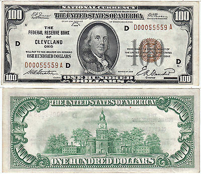 1929 $100 Federal Reserve Bank Of Cleveland Ohio Extra Fine
