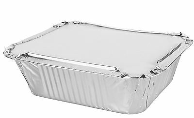 50 No6 Aluminium Foil Container With Lids Food Home Use Takeaway Dish Party Tray