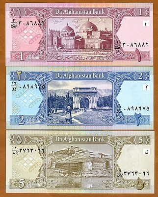 SET Afghanistan, 1;2;5 Afghanis, 2002, Picks 64-65-66, UNC