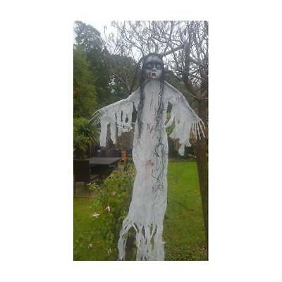 """White Scary GHOST GIRL Hanging Carrie Halloween Party Decoration 150 cm (59"""")"""
