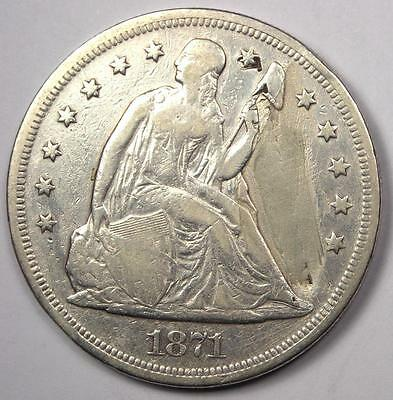 1871 Seated Liberty Silver Dollar $1 - VF Details - Rare Early Type Coin!