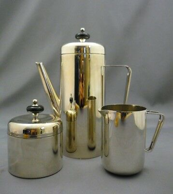 MCM Mid Mod Century Modern Silver Plate 3PCE COFFEE SET Serve Pot Sugar Creamer