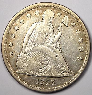 1843 Seated Liberty Silver Dollar $1 - XF Details - Rare Early Type Coin!