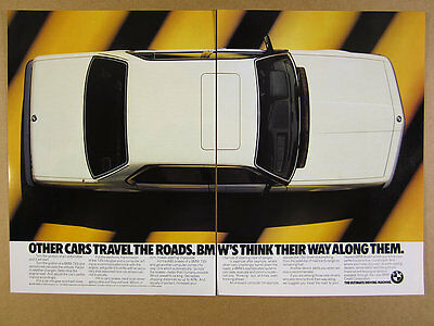 1986 BMW 735i Sedan white car color photo vintage print Ad