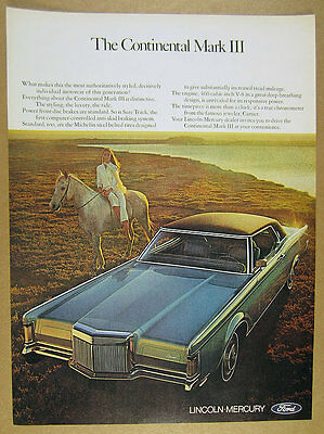 1970 Lincoln Continental Mark III car photo vintage print Ad
