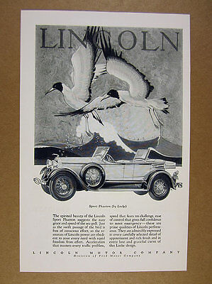 1928 Lincoln Sport Phaeton car & bird art illustration drawing vintage print Ad