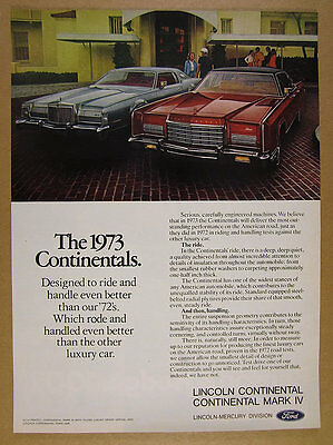 1973 Lincoln Continental Mark IV & Town Car photo vintage print Ad