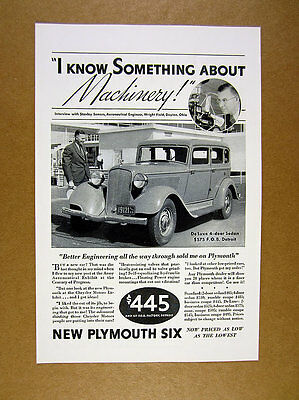 1933 Plymouth Six 6 at Wright Field Dayton car photo vintage print Ad
