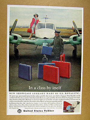 1963 Cessna Airplane woman on wing photo Royalite Luggage vintage print Ad