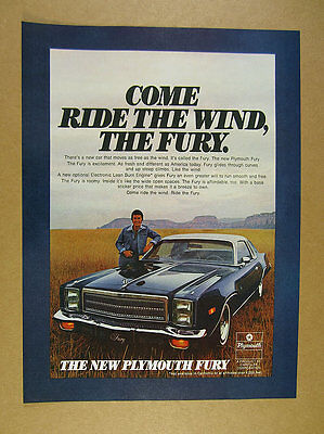 1976 Plymouth Fury blue 2-door coupe car photo vintage print Ad